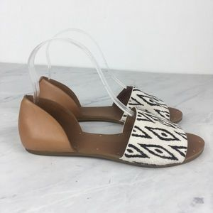Madewell Aztec Black & White Flat Sandals